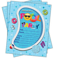 Amazon.com: Pool Party Invitations, Summer Birthday Pool Party Bash ...