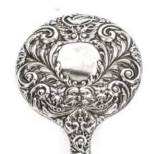 Antique Edwardian Sterling Silver and Embossed Hand Mirror 1917 at