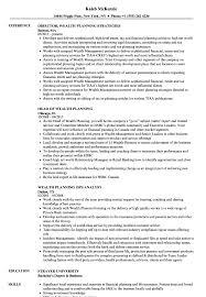 Wealth Planning Resume Samples Velvet Jobs