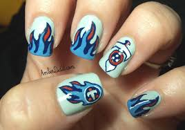 Tennessee Football Nail Designs Tennessee Titans Nail Art Football Nail Art Hacks Nail