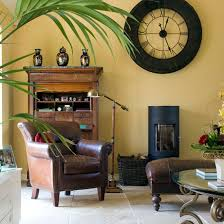 room with yellow walls and leather chair and stool