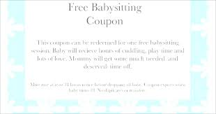 Free Babysitting Coupon Template Gift Certificate Wording
