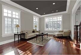 A dark-colored ceiling makes for an unexpected twist. Colors: Pewter Grey,