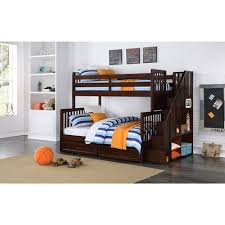kids bunk beds with storage. Delighful Beds Zachary Kidsu0027 Bunk Bed Twin Over Full With Storage  Walnut On Kids Beds With