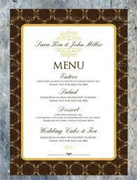 Sample Wedding Menu Cards Wedding Invitation Menu Cards