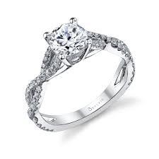 infinity wedding rings. alexis diamond house - 18k white gold cross shank prong set engagement ring by designer sylvie infinity wedding rings