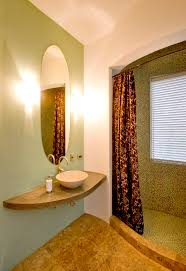 l shaped shower curtain rod bathroom southwestern with accent wall bathroom mirror curved walls floating