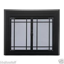 pleasant hearth glass fireplace door easton black medium ea 5011 mesh screens