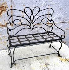 outdoor antique red metal bench chair porch