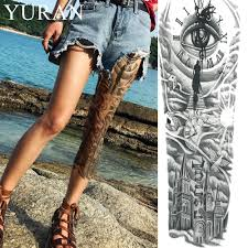 Black Clock Eye Water Transfer Tattoo Church Women Full Leg Art Sun Temporary Tattoo Sticker Sexy Men Shoulder Flash Tatoo Cloud