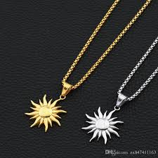 whole fashion hip hop jewelry sun pendant necklaces for men 18k gold plated 70cm long chain stainless steel design pendants and necklaces gold chains