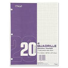 Graph Paper Tablet 3 Hole 8 5 X 11 Quadrille 4 Sq In 20 Sheets Pad 12 Pads Pack