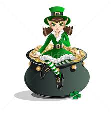 st  patrick s day  leprechaun girl and a pot of gold vector    stock photo   stock vector illustration  st  patrick s day  leprechaun girl and a pot of gold