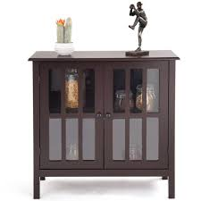 details about brown wood glass door side table cabinet console hallway entryway buffet shelves