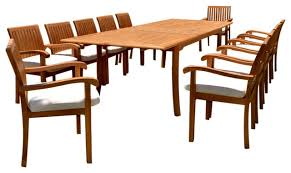 13 piece dining set with extension rectangle table 118 canvas natural