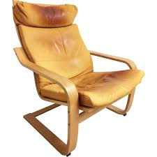 vintage poäng armchair for ikea in leather and birchwood 1990