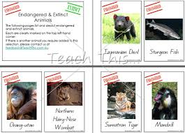endangered extinct animals printable picture theme flash cards  endangered extinct animals