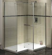Bathroom:White Shower Complete With Rainfall Shower And Bright White  Lighting Simple Glass Wall Shower