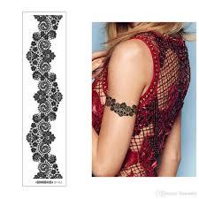 черная красота кривой линии хна цветок кружева временные татуировки наручные