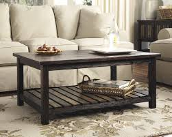 Superb Ashley T580 1 Mestler Rustic Brown Tone Coffee Table With Plank Shelf    Main Image Images