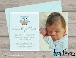 Baby Boy Thank You Cards Owl Birth Announcement Baby Boy Thank You Card Cute Owl Birth