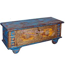 wooden hand painted trunk wheel box with brass fitting