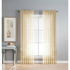 window elements sheer solid voile extra wide beige sheer rod pocket curtain panel 54