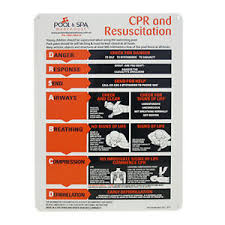 Details About Large Metallic Cpr Resuscitation Chart Safety Sign For Swimming Pools Spa