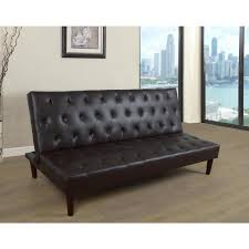 star home living black faux leather convertible sofa bed futon