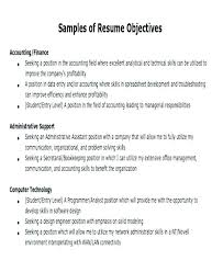 Resume Outline Examples Objective For Resume Samples Objectives ...