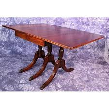 1930 Duncan Phyfe Antique Mahogany Drop Leaf Dining Table