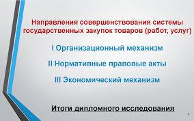 Система государственных закупок в Республике Беларусь и  Цель работы Объект исследования Национальные веб порталы в сфере государственных закупок стран участниц ЕврАзЭС Итоги дипломного исследования