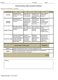 Rubric Template Microsoft Word Ms Word Projects 18 19 Brown_b315