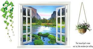 faux window wall art faux window wall decal waterproof sea scenery fake window wall stickers removable
