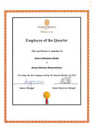 Employee Of The Quarter Certificate Employee Of The Quarter