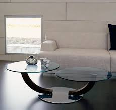 living room glass table with white stripped ceramic modern double top round metal coffee base silver