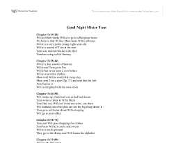 good night mister tom quick chapter summary gcse english  document image preview