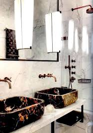 rustic gold sink faucet with elegant white marble counter for classic bathroom ideas with marble wall tiles