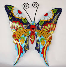 butterfly metal wall art garden mexican talavera style colorful on talavera style wall art with butterfly metal wall art garden mexican talavera style colorful