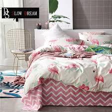 slowdream flamingos bedding set double linens flat sheets nordic bedspread duvet cover comforter queen king