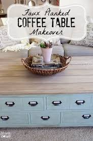 Old Coffee Table Makeovers Faux Planked Coffee Table Makeover Card Catalog Style Blesser