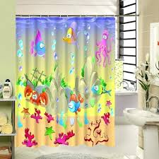 kids fish shower curtain polyester fabric print waterproof bathroom sea world pattern turtle custom bathtub clean