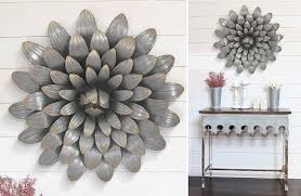 large galvanized metal wall decor on shiplap wall