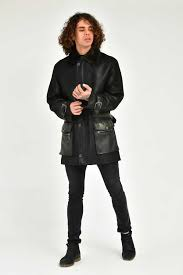 adamo man black wool dispers leather jacket