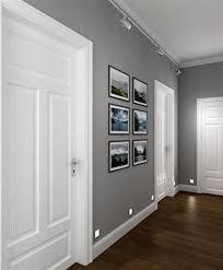 interior perfect corridor grey walls white doors dark wooden floor looks beneficial trim 0