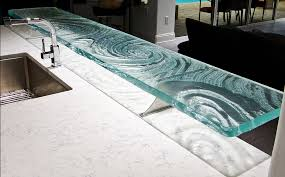 high bar countertop with textured glass in swirl design photo source downingdesigns