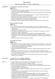 Manager Resume Samples Activities Manager Resume Samples Velvet Jobs
