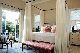 Iron Canopy Bed with Ivory Sheer Curtains - Transitional - Bedroom