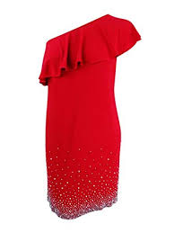 Msk Womens Plus Size Beaded One Shoulder Shift Dress At