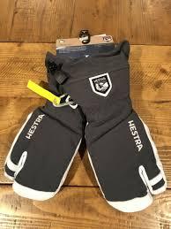 New Hestra Army Leather Heli Ski 3 Finger Mitten Glove Gray White Size 6 Xs S